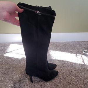 minimally worn black suede platform boots